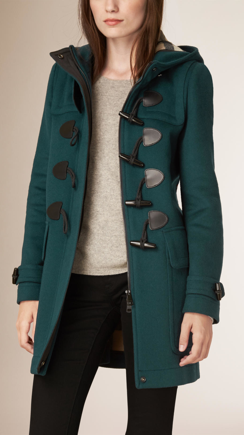 Burberry Straight Fit Duffle Coat in Blue | Lyst