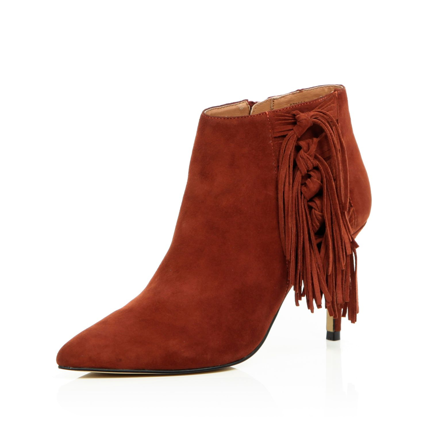river island brown suede fringed heeled boots in brown lyst