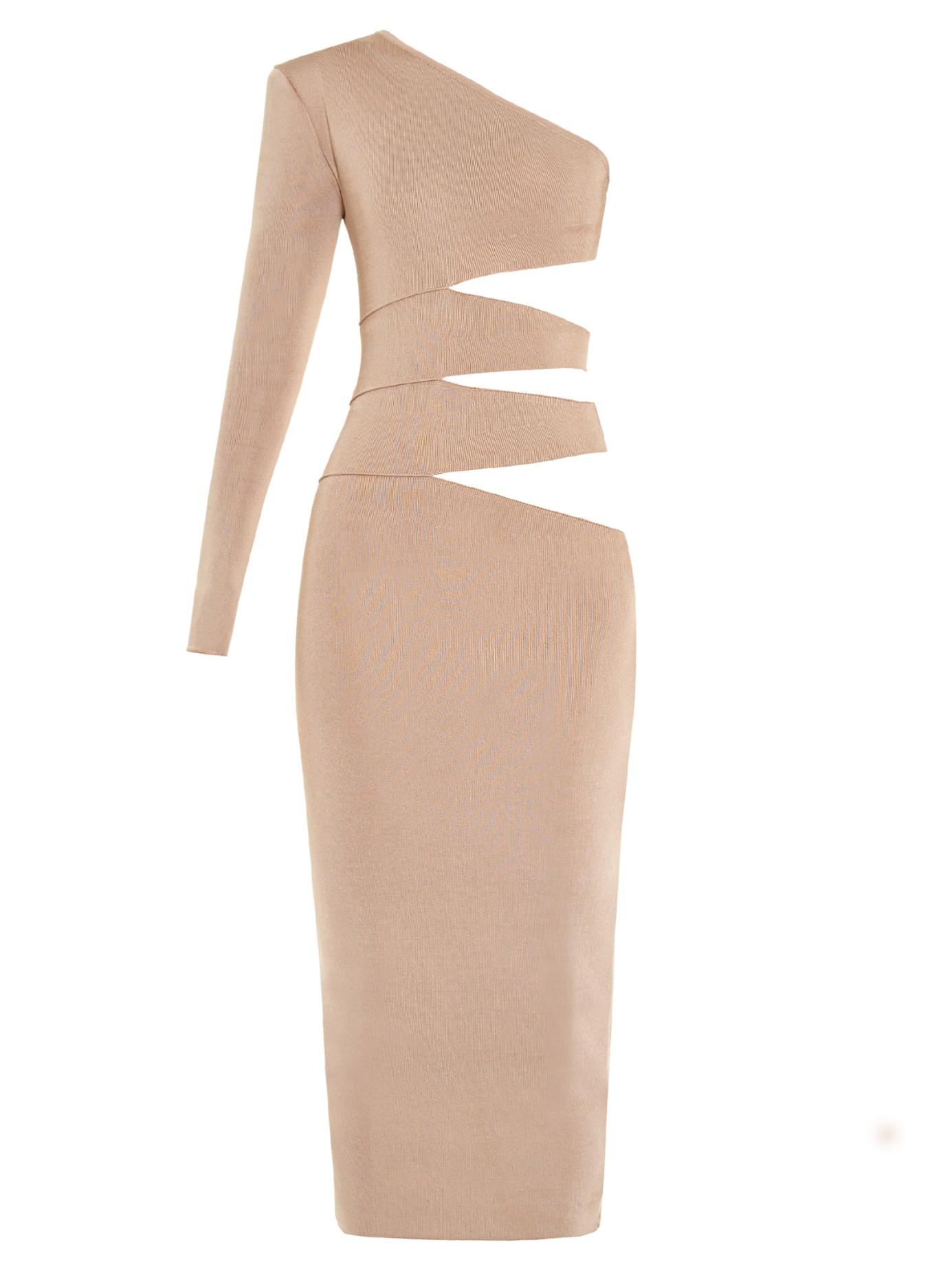 23ab4e6e Balmain Cutaway-side One-shoulder Midi Dress in Natural - Lyst