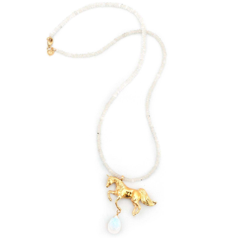 Lyst - Leivan kash Unicorn Necklace Moonstone in Blue