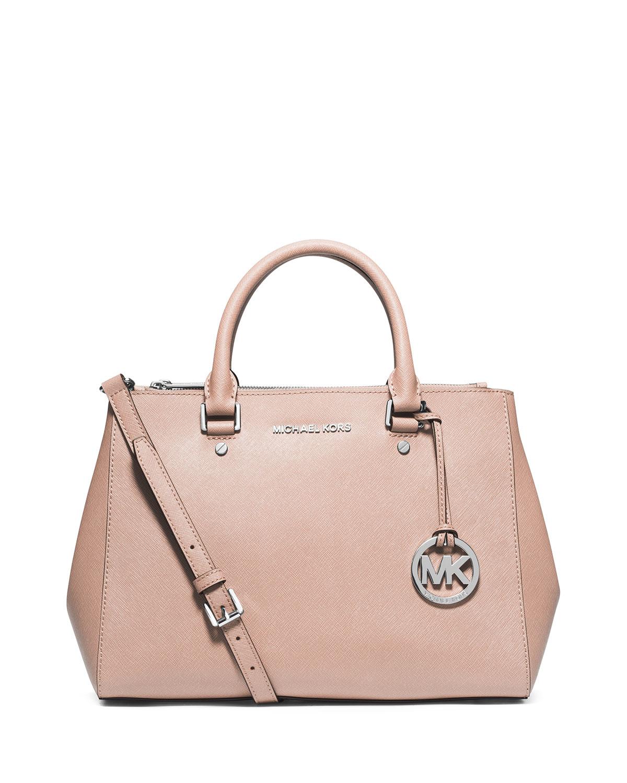 lyst michael michael kors sutton medium satchel bag in pink. Black Bedroom Furniture Sets. Home Design Ideas