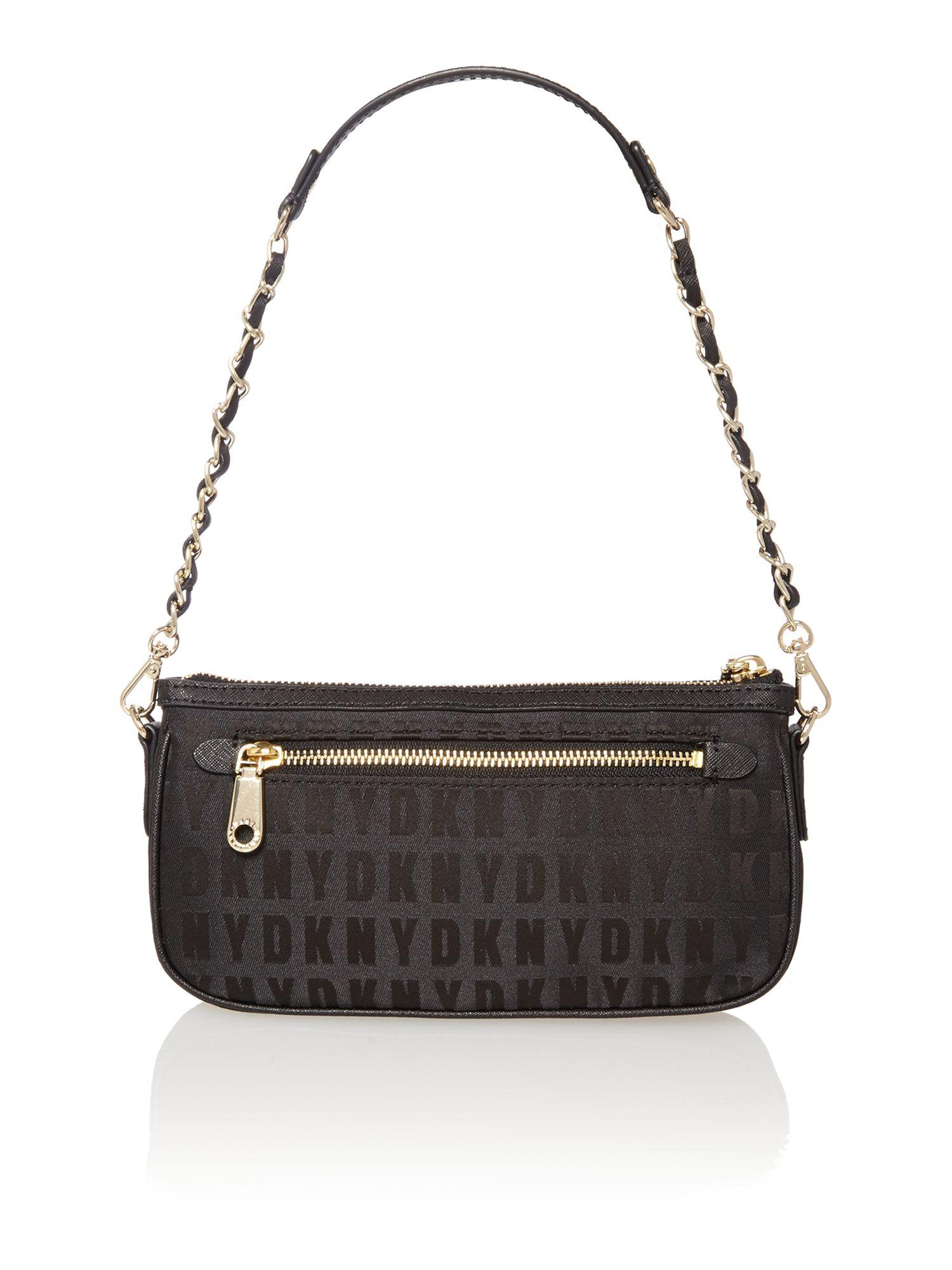 dkny saffiano black small chain shoulder bag in black lyst