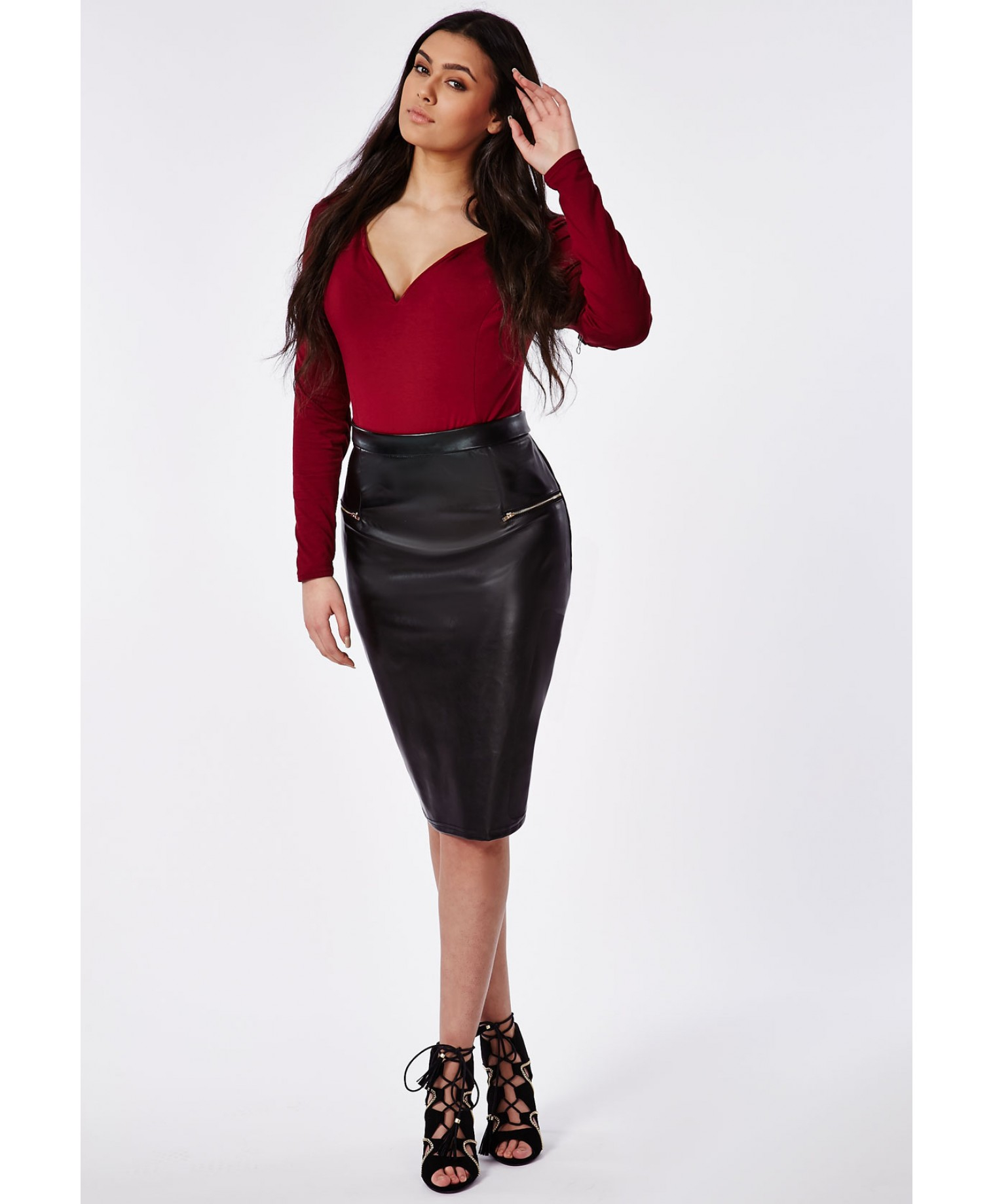 missguided plus size zip detail pu midi skirt in black lyst