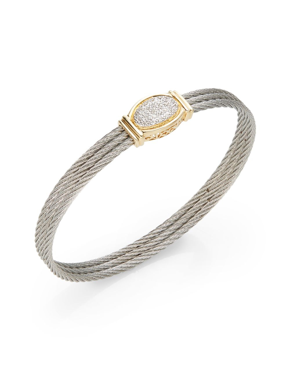 Lyst Charriol Pav 227 Diamond Oval Stainless Steel Cable