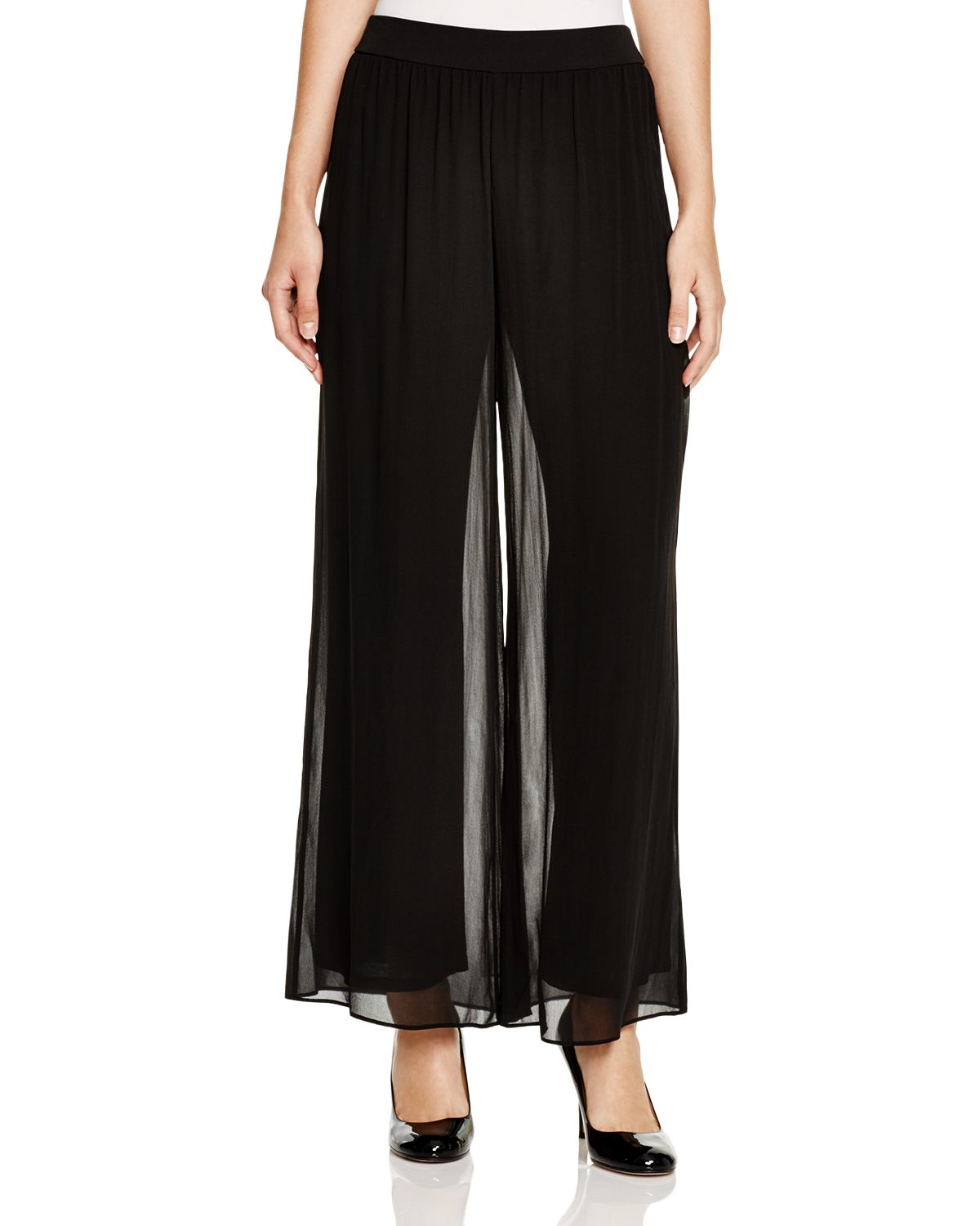 Eileen Fisher Silk Wide Leg Pants in Black | Lyst