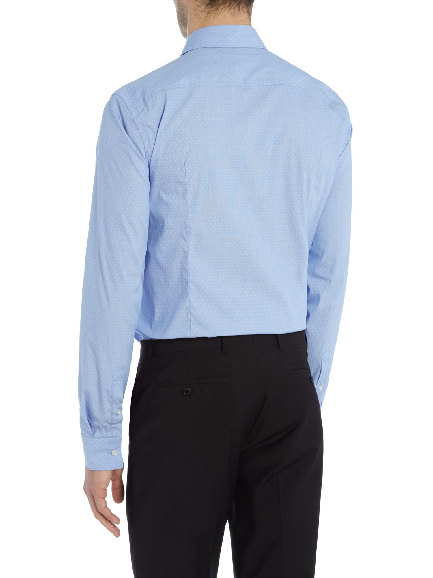Boss slim geo round collar shirt in blue for men lyst for Round collar shirt men