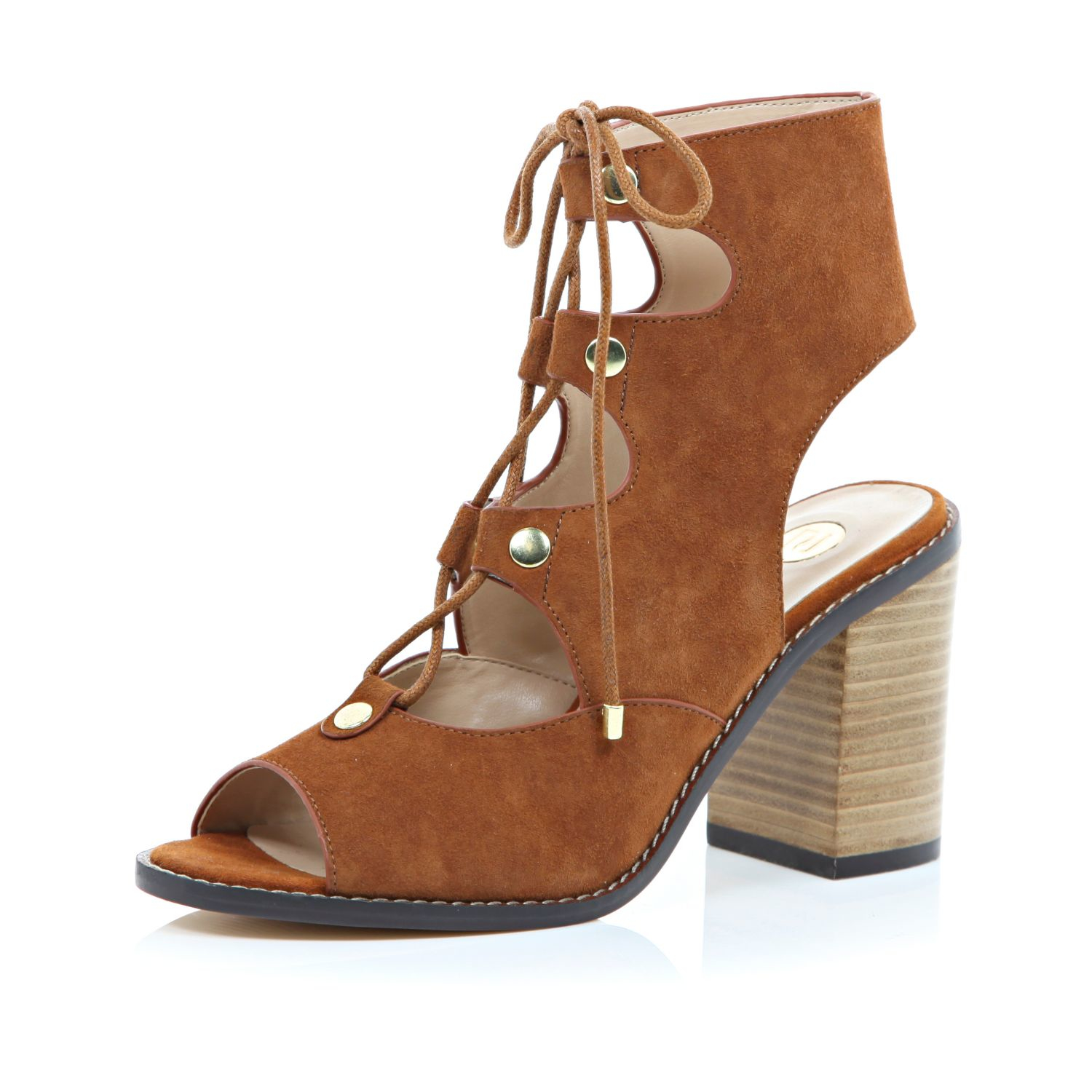River Island Tan Suede Ghillie Lace Up Heeled Sandals in Brown - Lyst