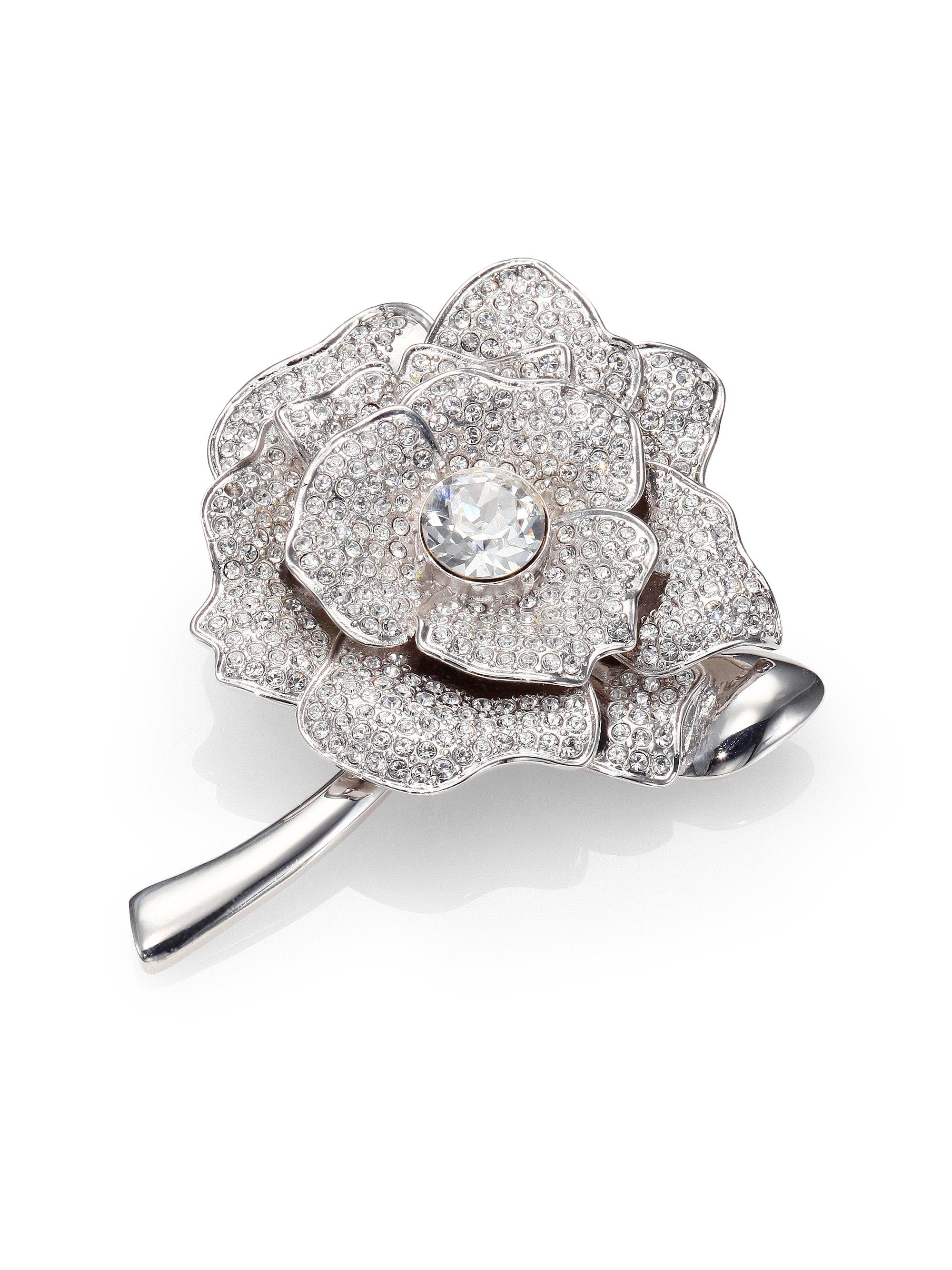 Kate Spade Rose Garden Pave Crystal Brooch In Silver