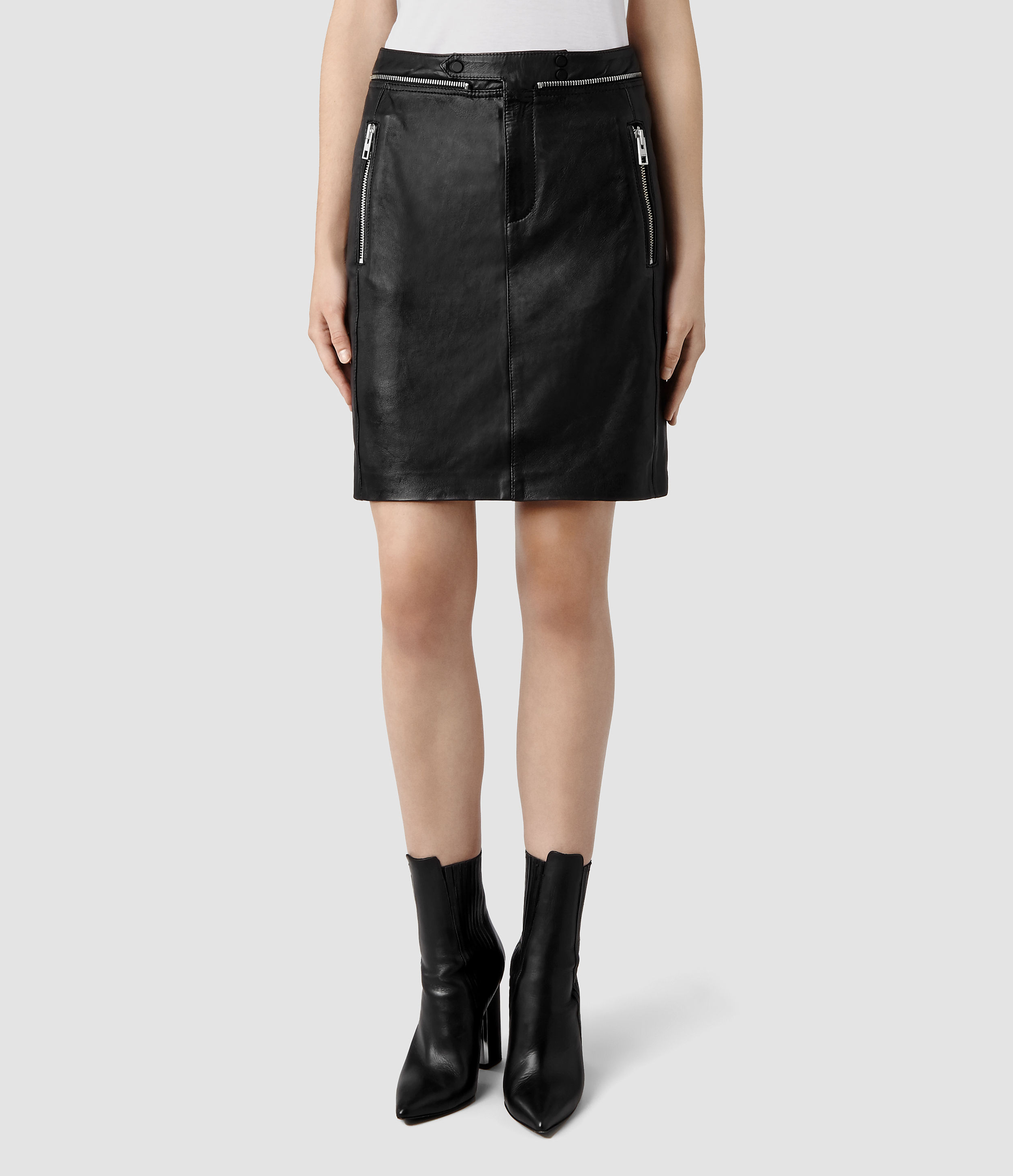 allsaints ryley leather pencil skirt in black lyst