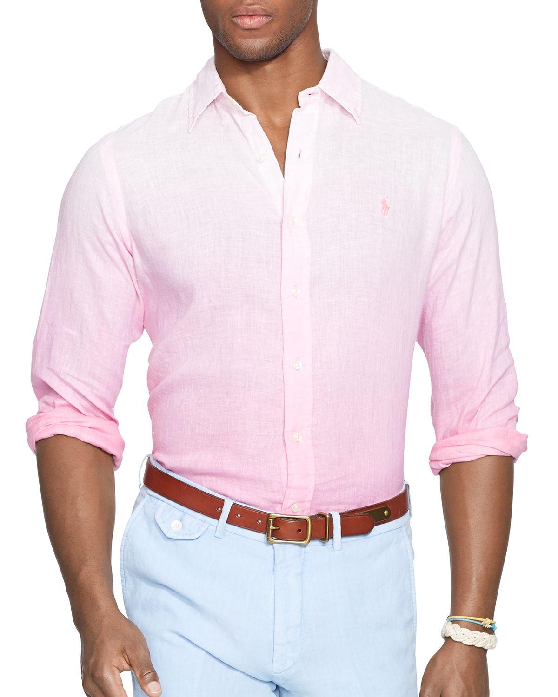 Ralph lauren Polo Dip Dyed Linen Button Down Shirt - Regular Fit ...
