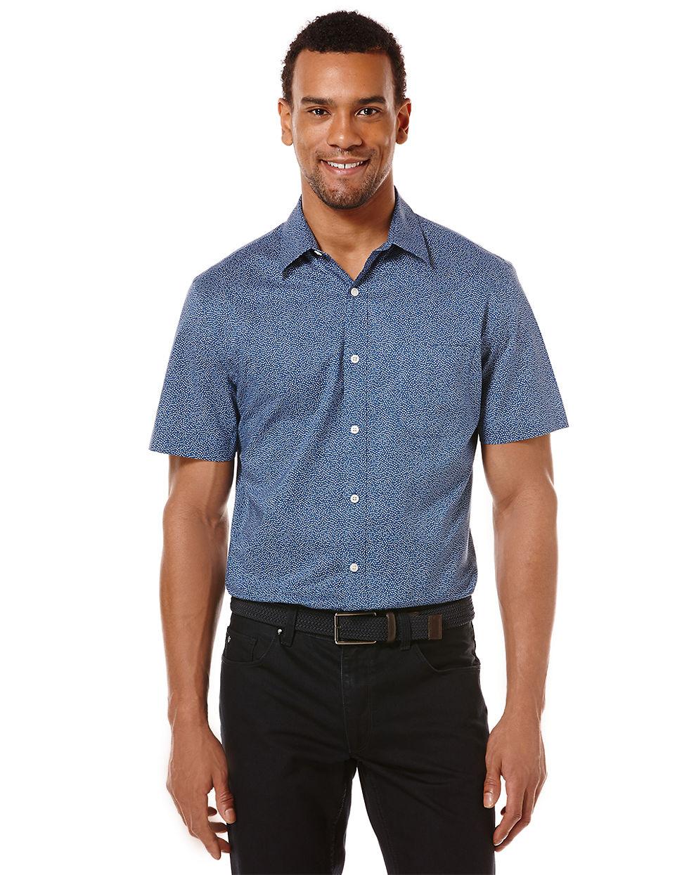 Perry Ellis Slim Fit Uneven Tile Dress Shirt In
