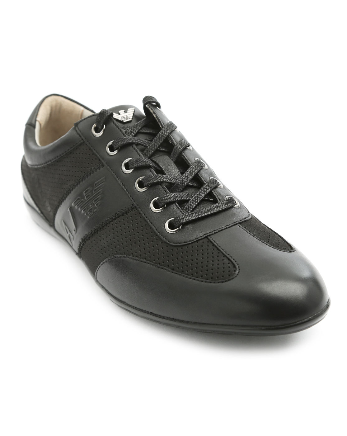 Armani Jeans Logo Black Leather Sneakers in Black for Men ...