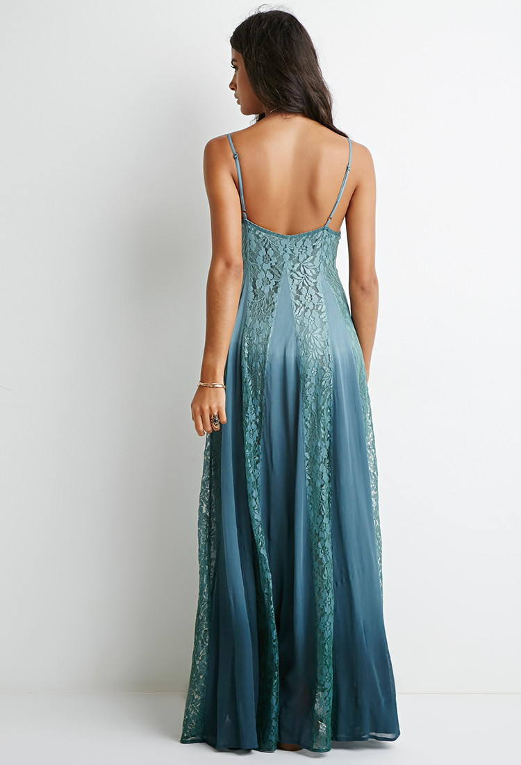 Forever 21 Lace-paneled Maxi Dress in Blue | Lyst