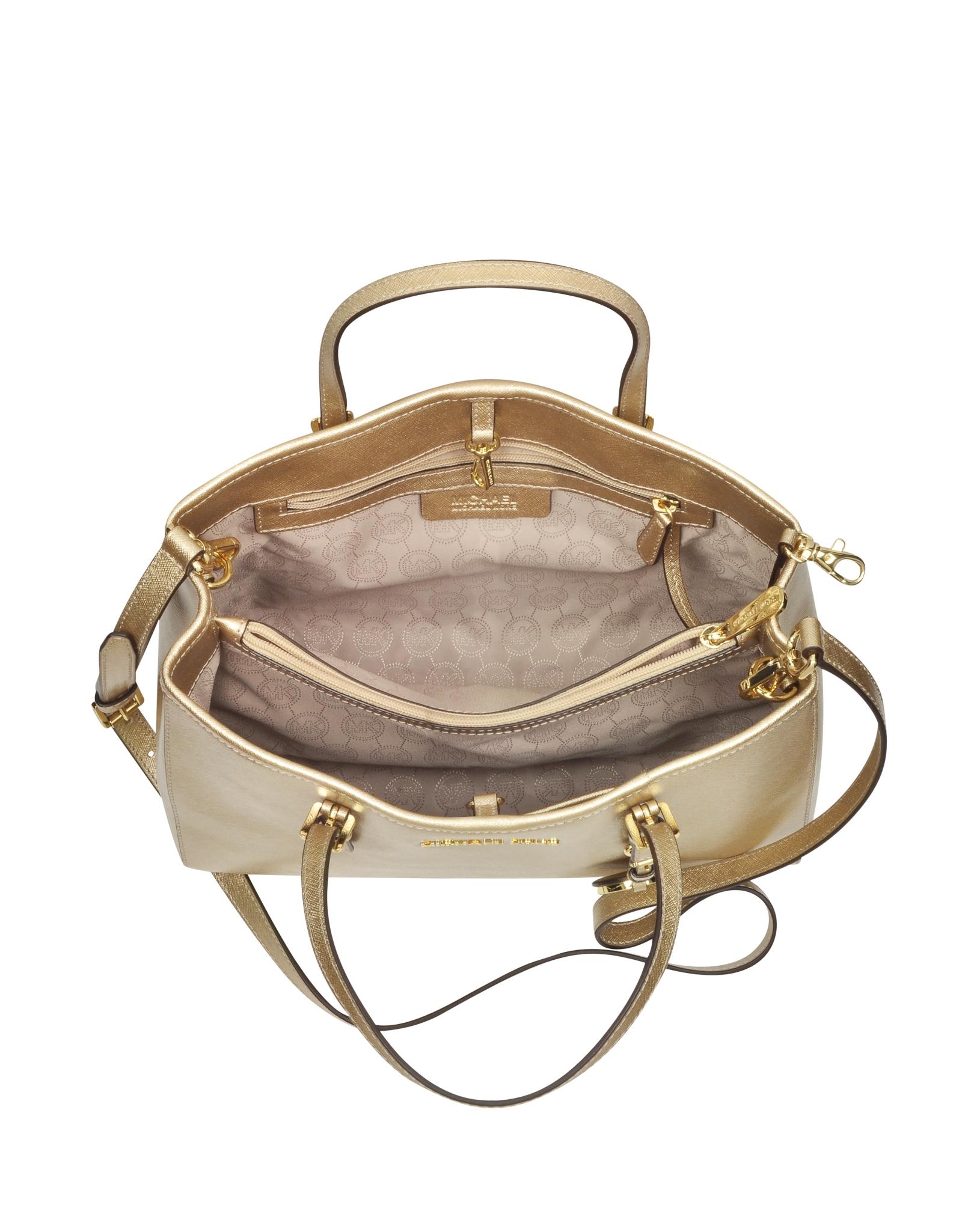 michael kors jet set travel pale gold metallic saffiano leather medium ew tote in metallic lyst. Black Bedroom Furniture Sets. Home Design Ideas