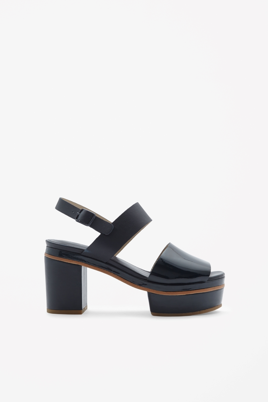 cos platform sandals in blue blue lyst