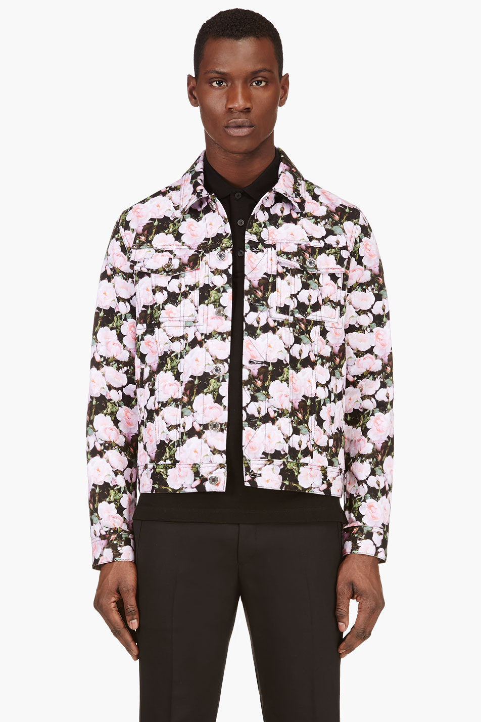 Givenchy Black And Pink Peony Print Denim Jacket In Pink