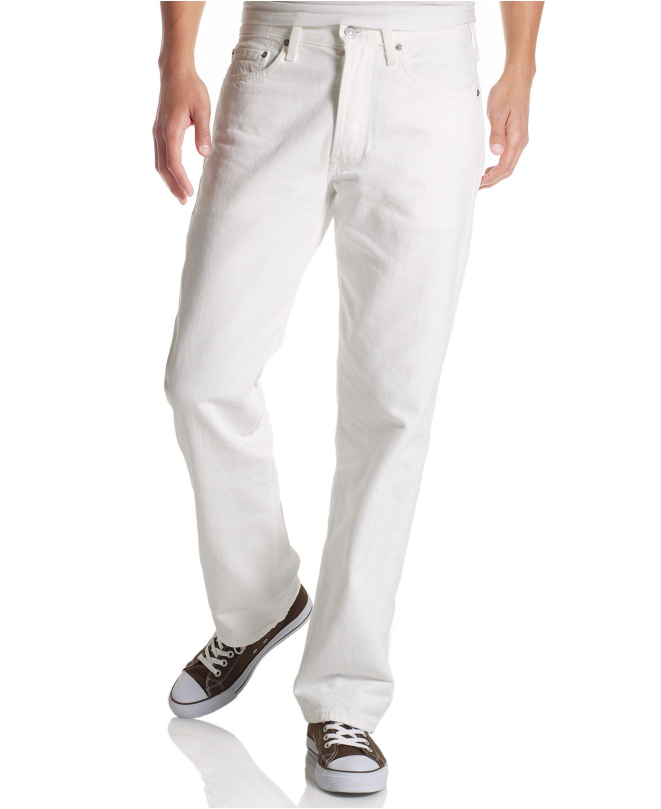 levis mens 501 originalfit jeans in white for men
