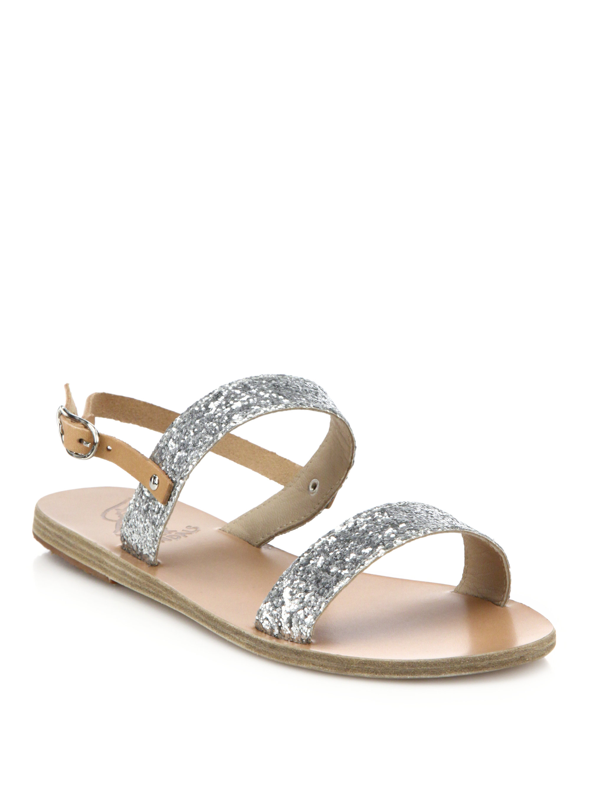 Ancient Greek Sandals Clio Glitter Leather Sandals In