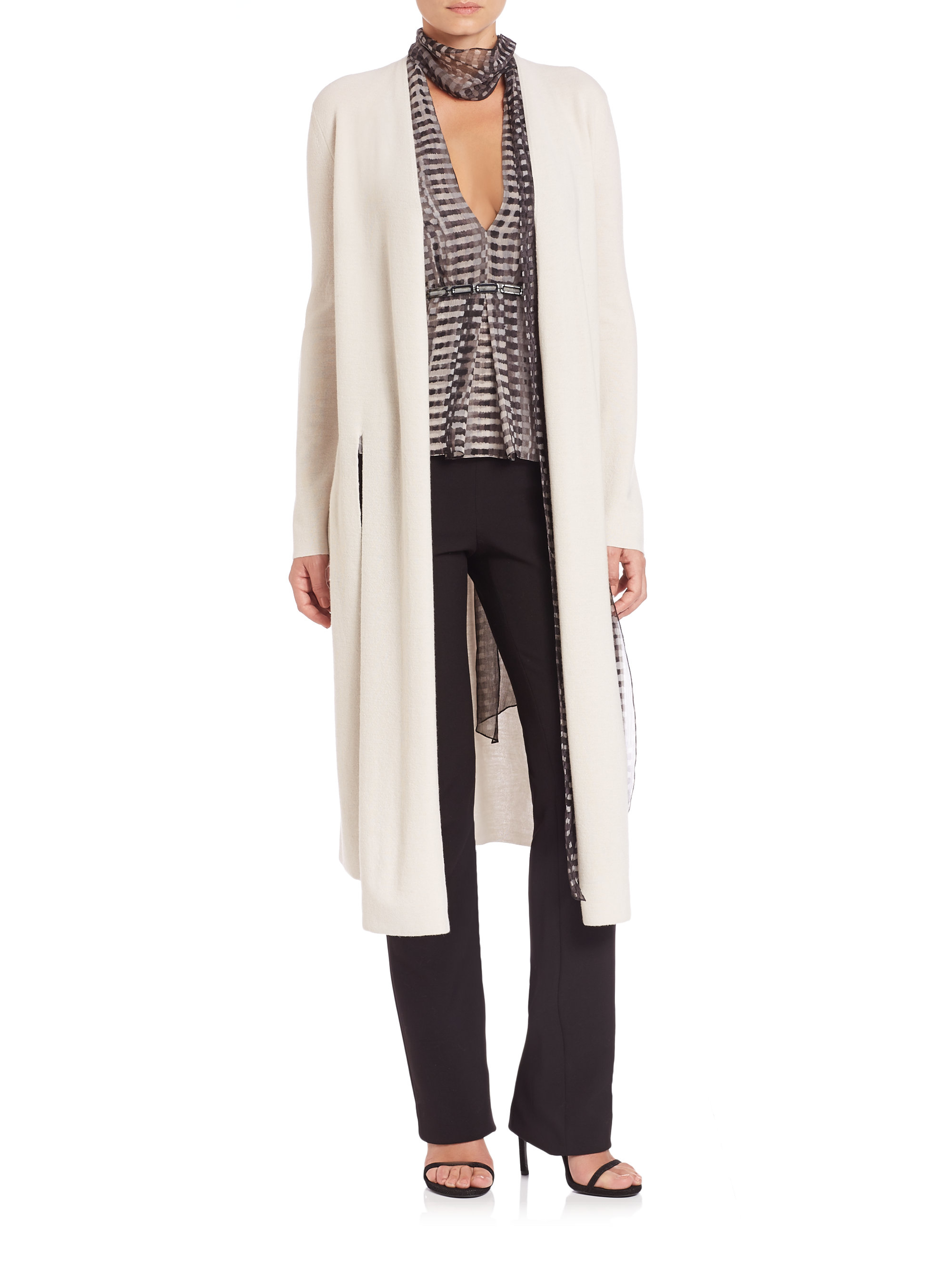 Halston Wool Duster Cardigan in Natural | Lyst