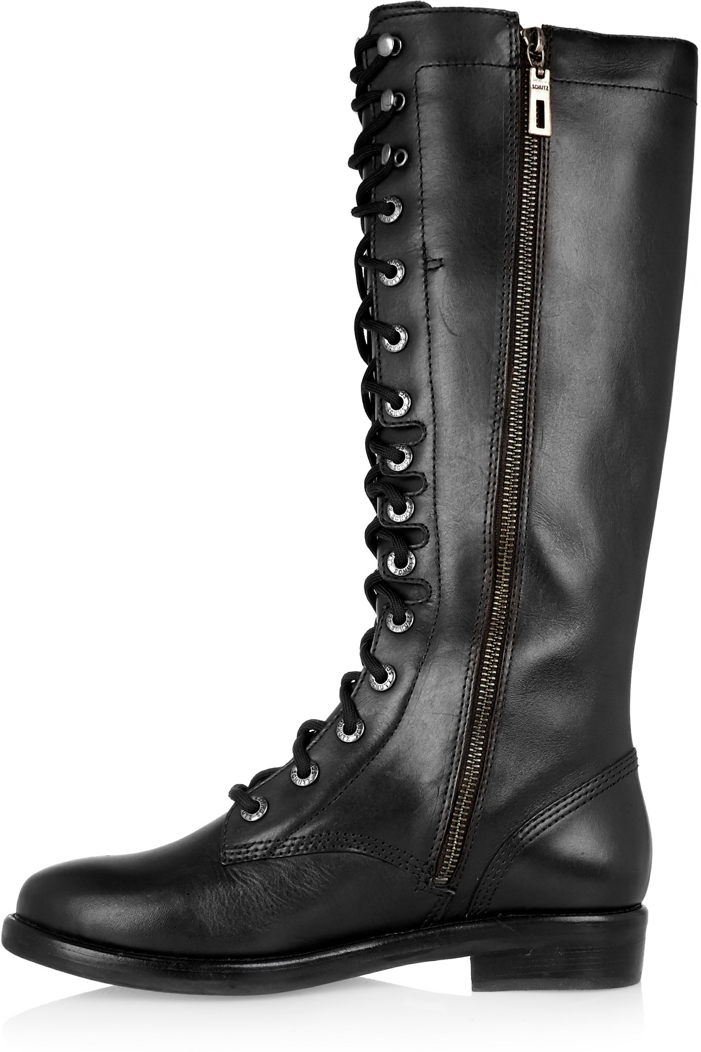 Schutz Lace-up Leather Knee Boots in Black