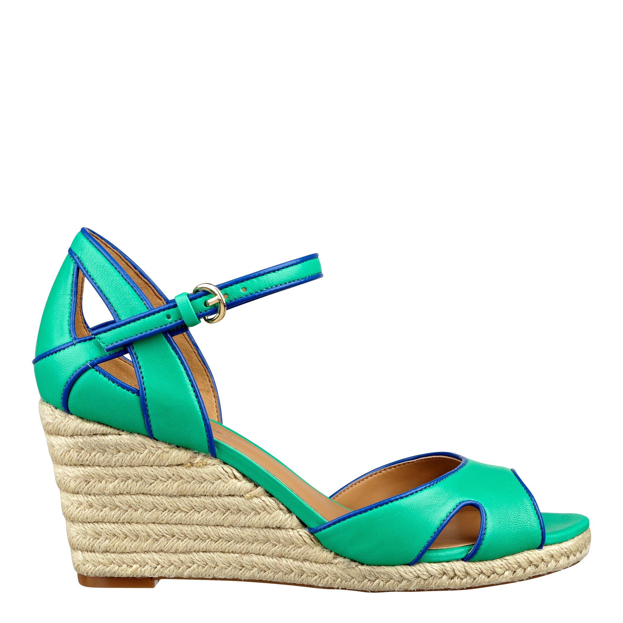 nine west espadrille wedge sandals in green