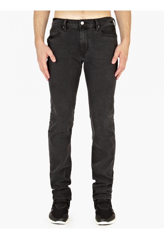frame denim grey denim skinny l homme jeans in black for men lyst. Black Bedroom Furniture Sets. Home Design Ideas
