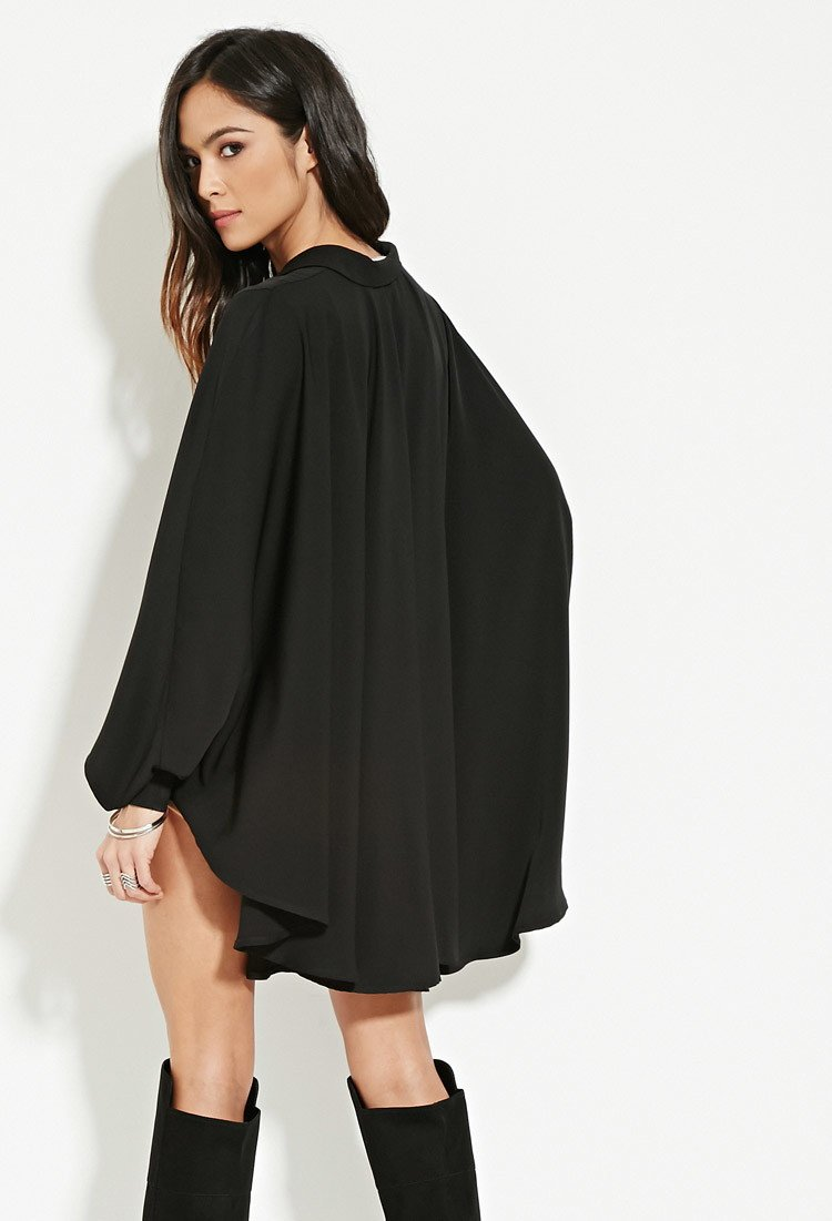 0a642d4f22630 Lyst - Forever 21 Lavish Alice Cape Shirt in Black