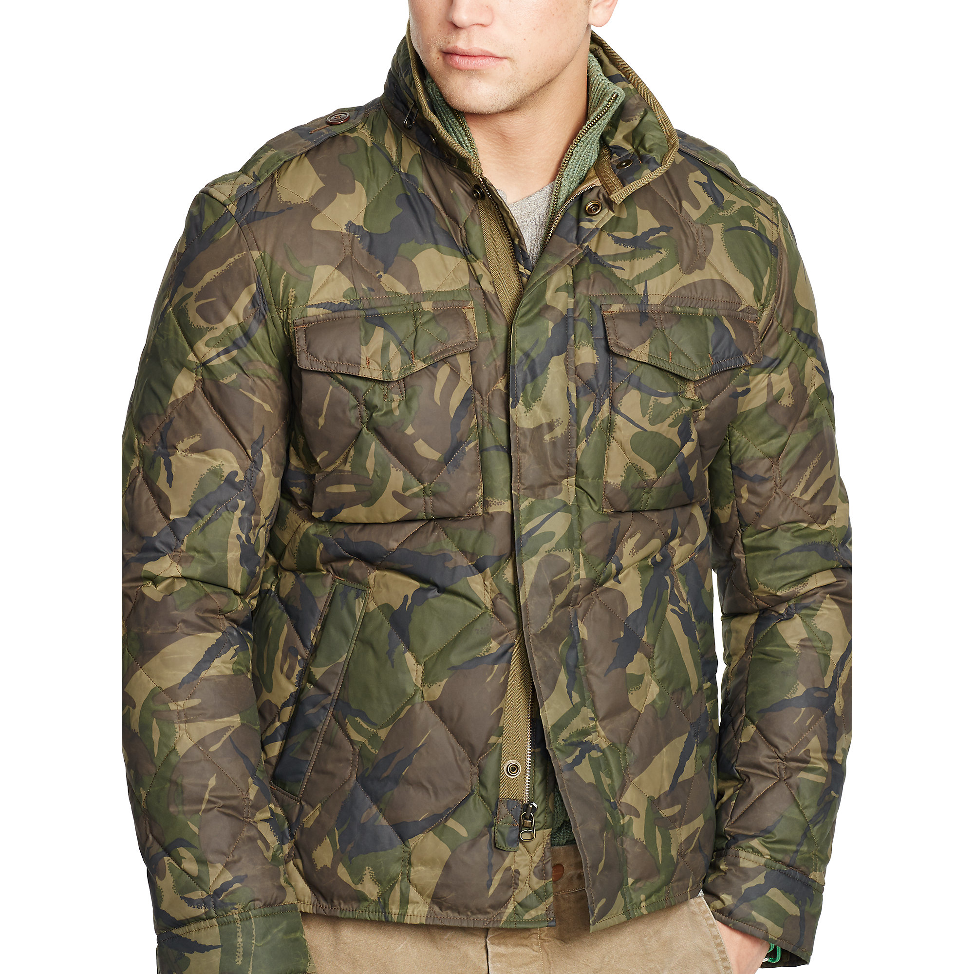 Polo Ralph Lauren Quilted Camouflage Down Jacket in Green ...