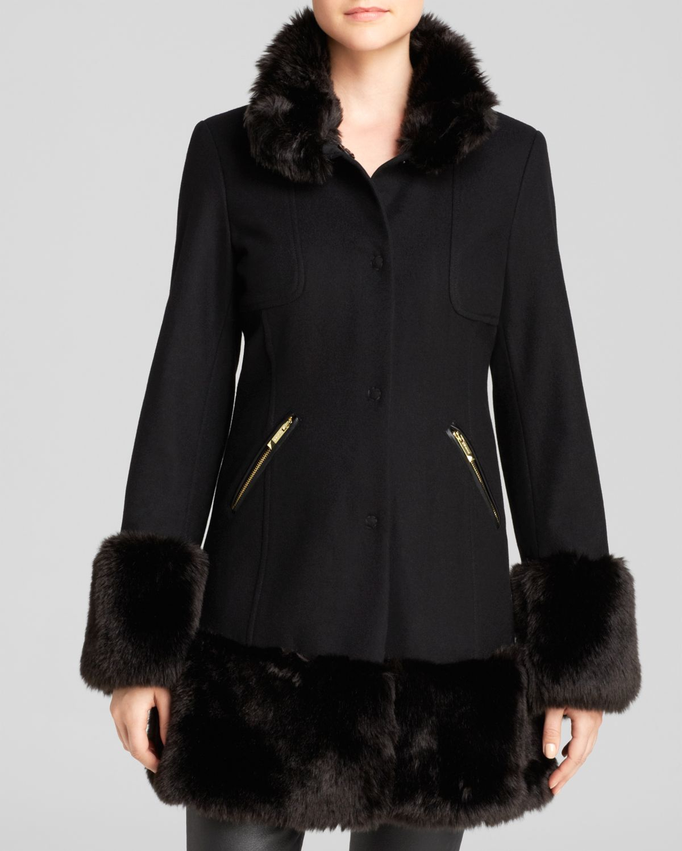 Lyst Guess Coat Faux Fur Trim In Black