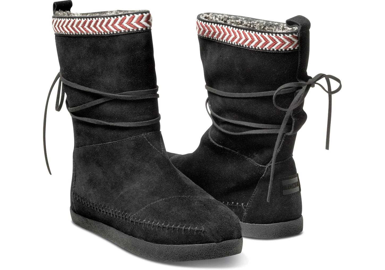 4ed95c54f TOMS Black Suede Trim Women'S Nepal Boots in Black - Lyst