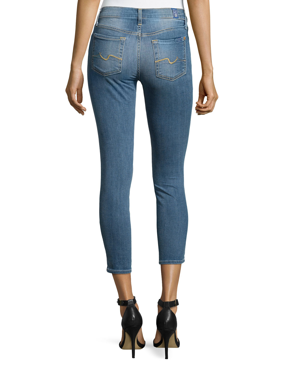 7 for all mankind gwenevere cropped jeans in blue lyst. Black Bedroom Furniture Sets. Home Design Ideas