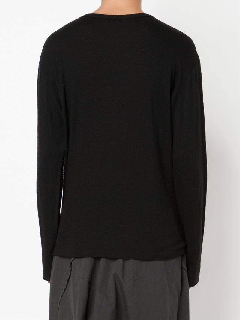Yohji Yamamoto Wool Logo Print Sweater in Black for Men