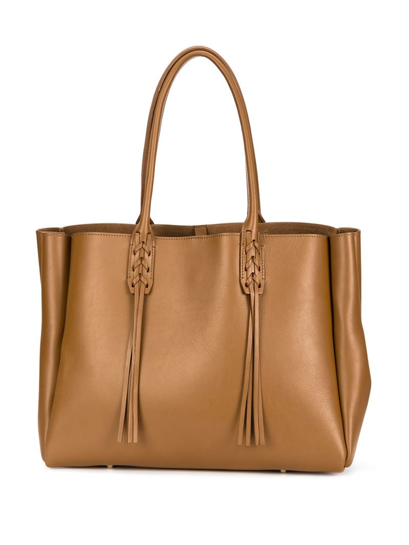 Lanvin Fringed Tote in Brown