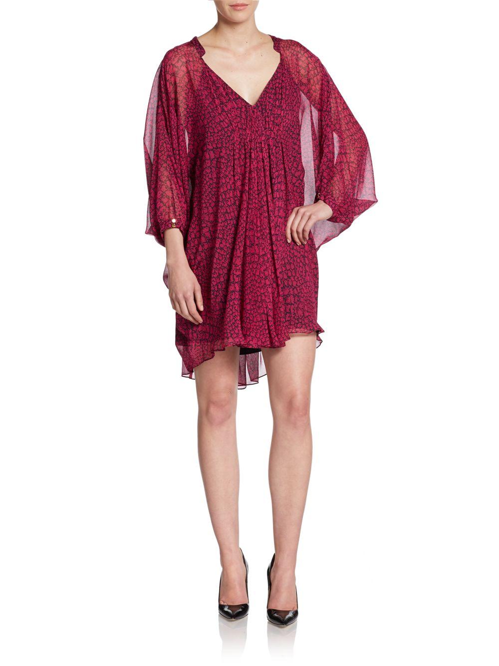 641cd725f7a94 Lyst - Diane von Furstenberg Fleurette Snake-Print Silk Dress in Red