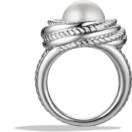 david yurman crossover pearl ring with diamonds in white