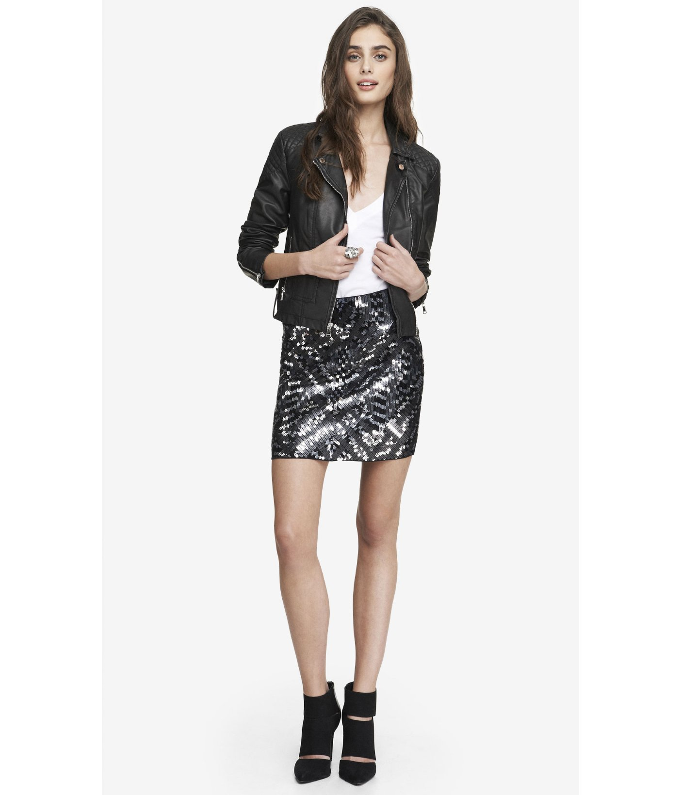 Express High Waisted Sequin Mini Skirt in Black | Lyst