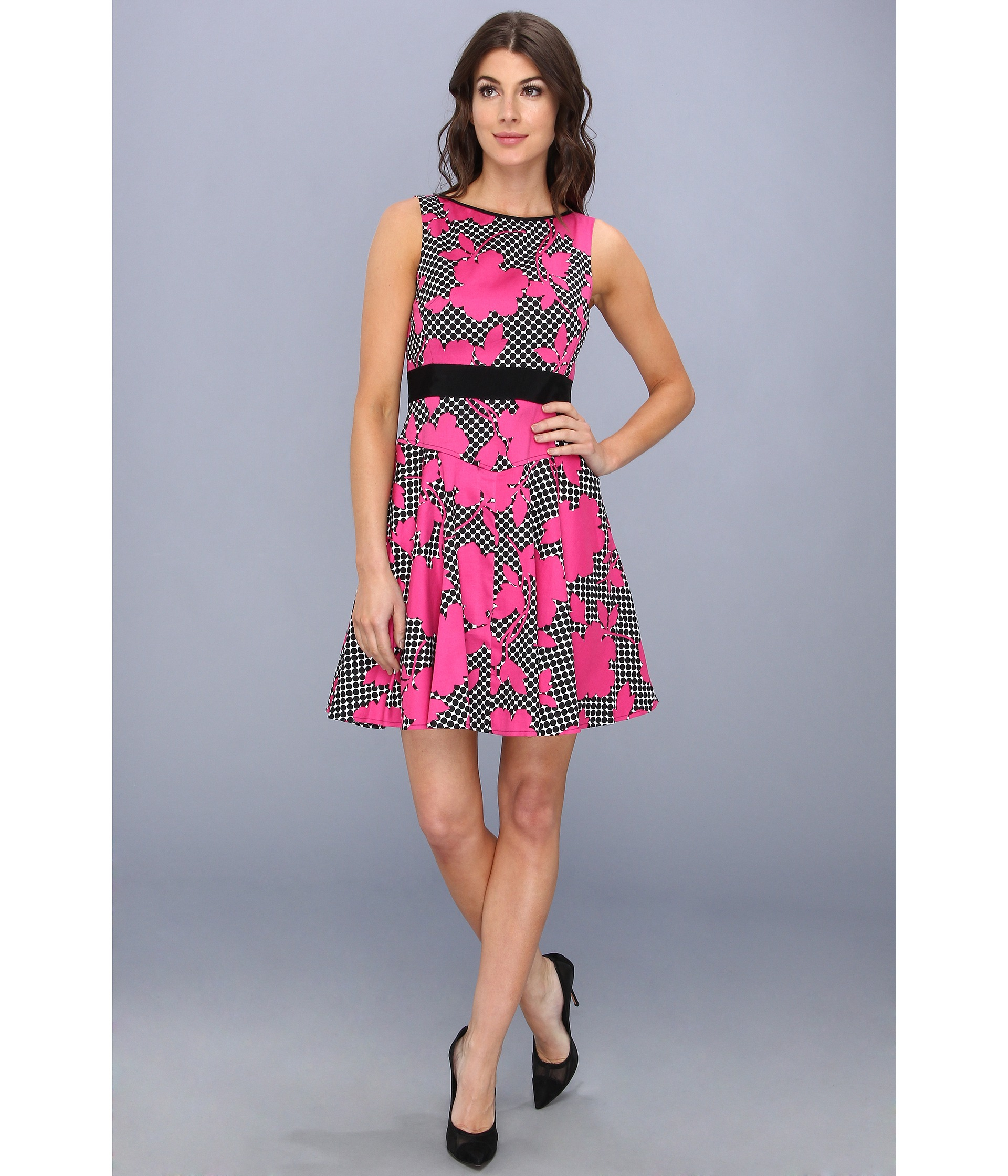 Maggy London Printed Cotton Fit And Flare Dot Floral Dress