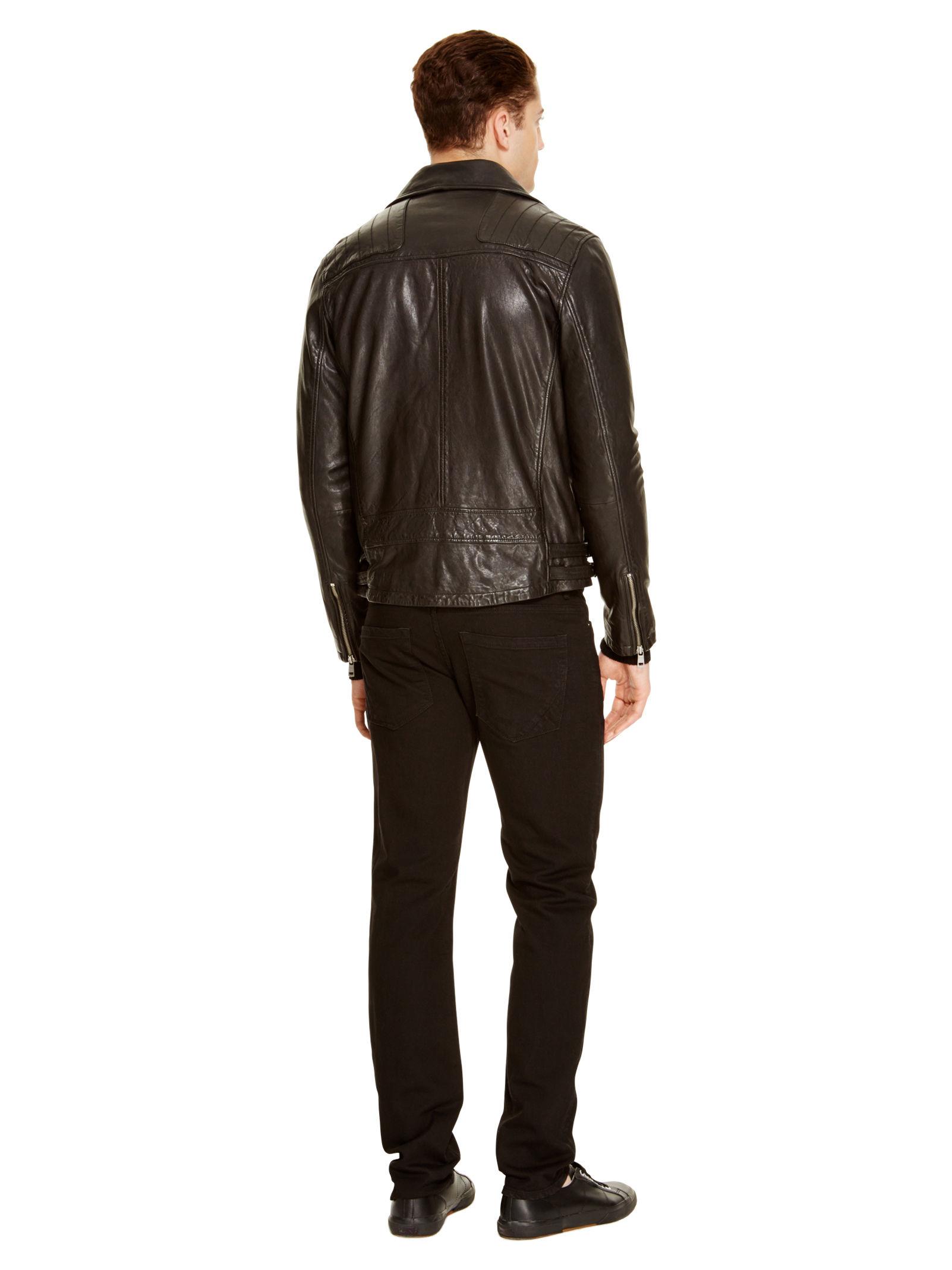e9331210d Men's Black Leather Biker Jacket