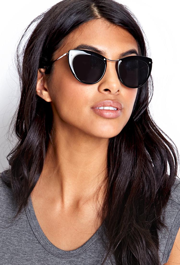 c9a0a8763a Forever 21 Mod Cat-Eye Sunglasses in Metallic - Lyst
