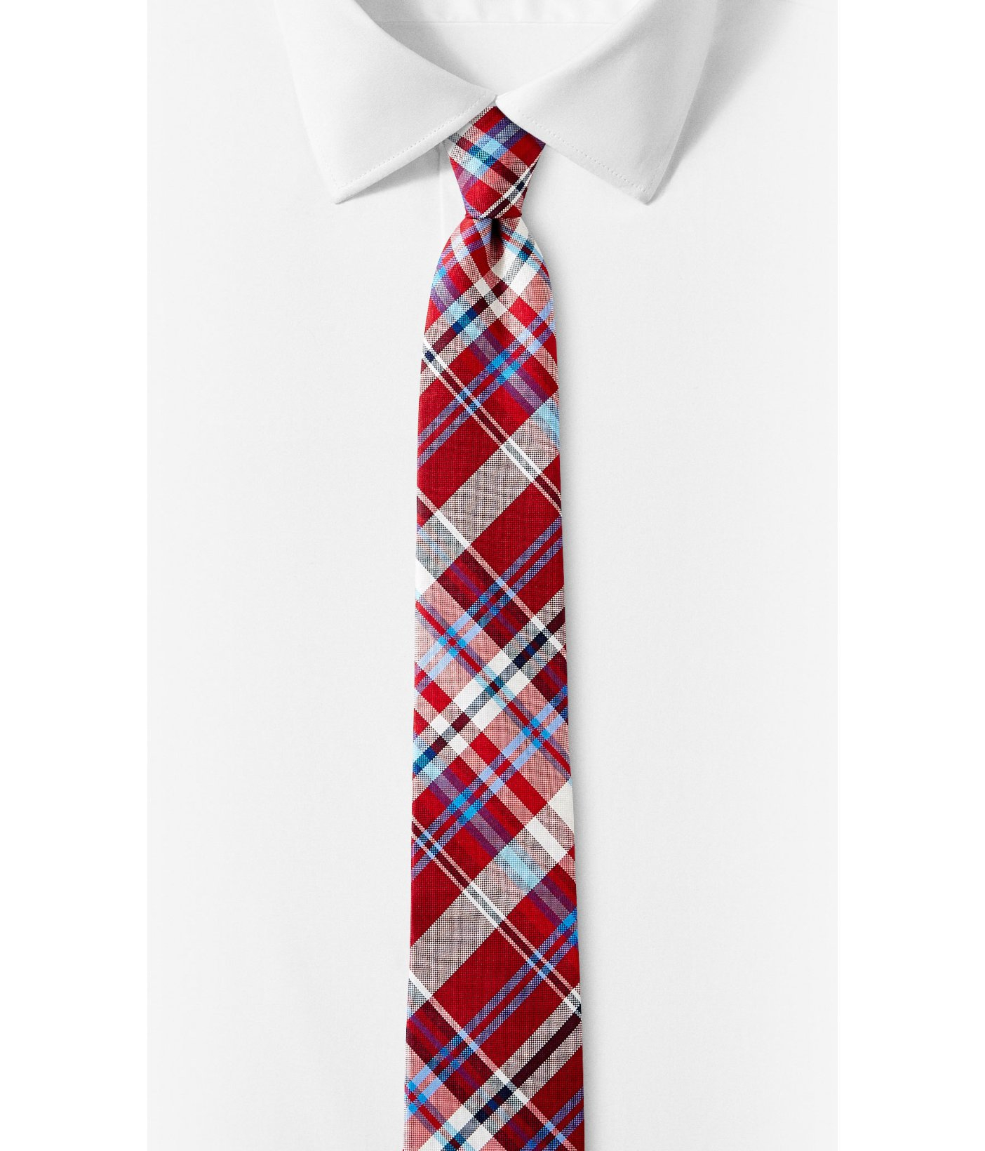 express plaid narrow silk tie in for lyst