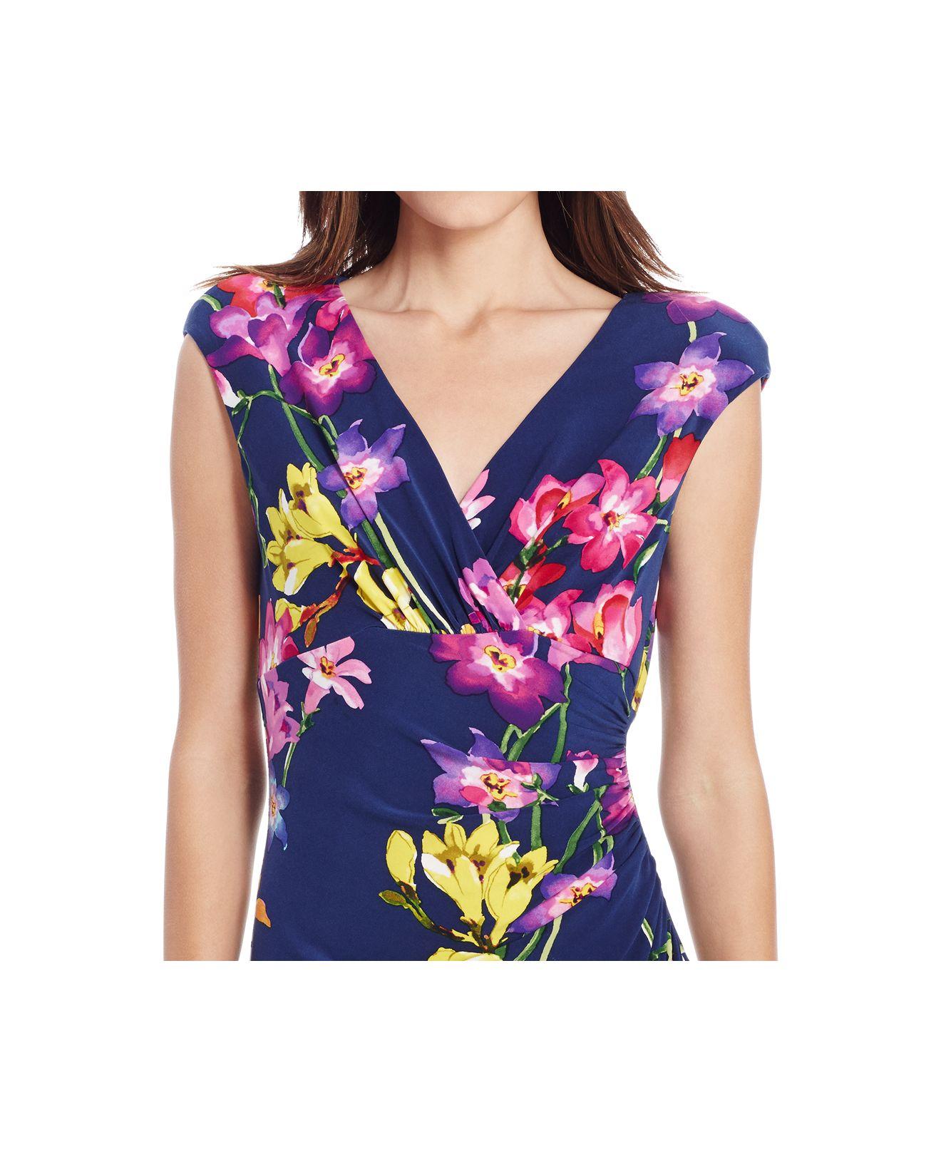 Lauren By Ralph Lauren Petite Floral Print Faux Wrap Dress
