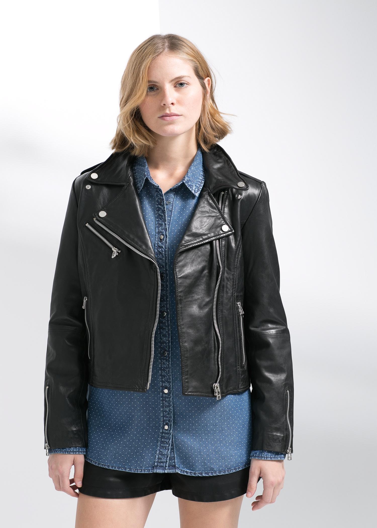 4ccd8d942 Mango Black Leather Biker Jacket