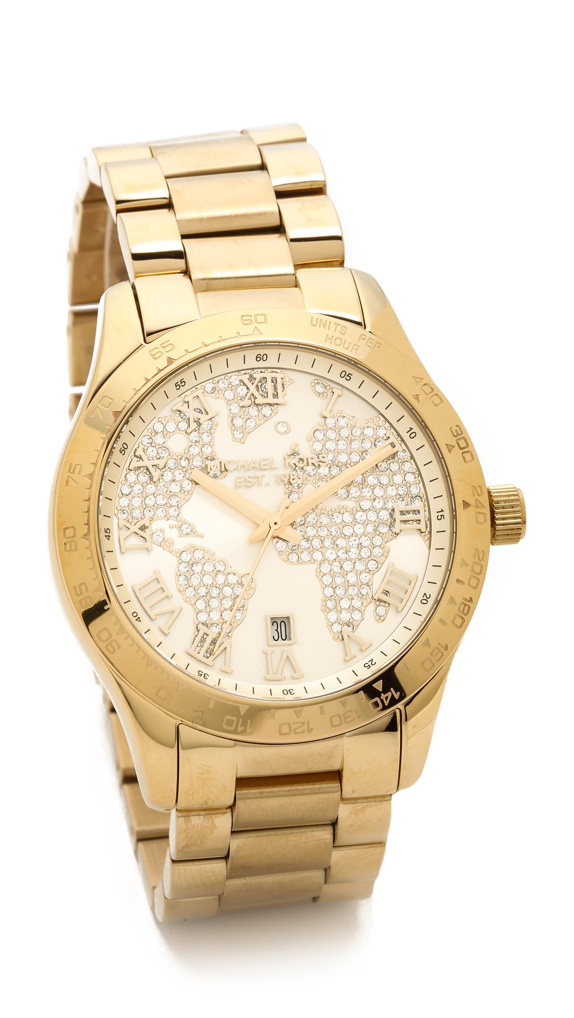 Lyst michael kors global glam layton watch gold in metallic gallery gumiabroncs Choice Image