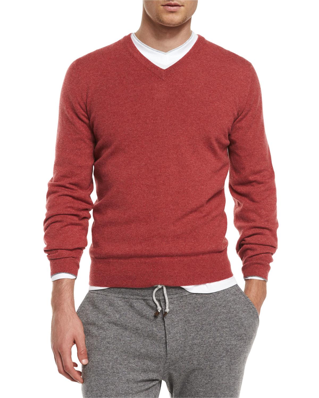 Lyst Brunello Cucinelli Cashmere V Neck Pullover Sweater In Red