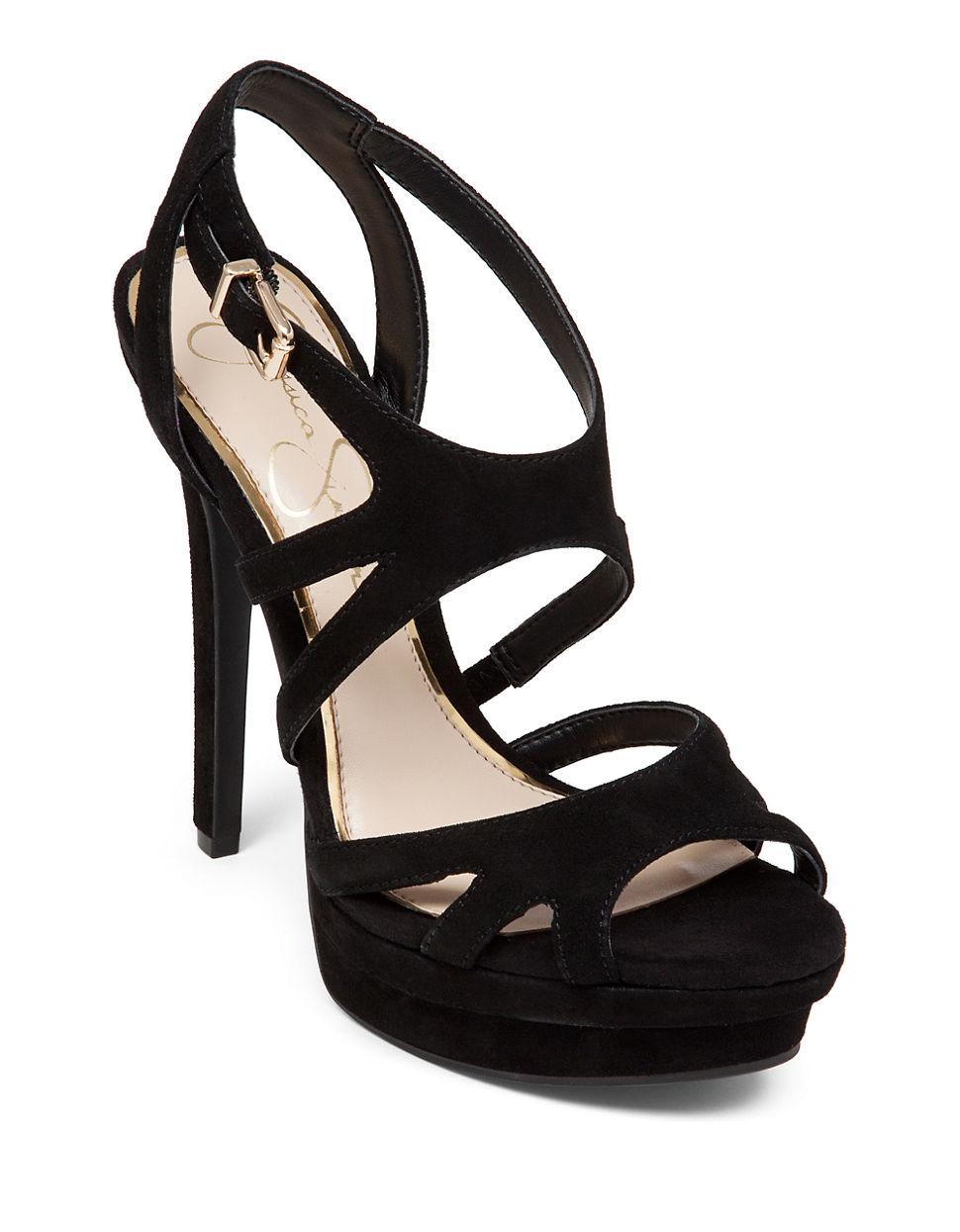 e179cf3b6b8 Jessica Simpson Presslie Suede High-heel Sandals in Black - Lyst