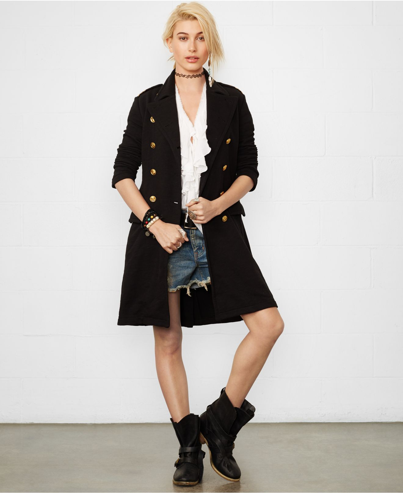 denim supply ralph lauren double breasted military coat in black lyst. Black Bedroom Furniture Sets. Home Design Ideas
