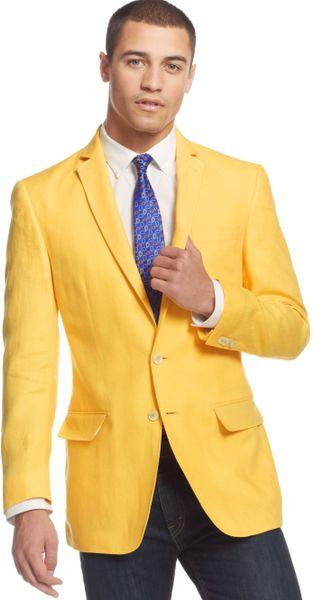 Sean John Color Linen Sport Coat In Yellow For Men Lyst