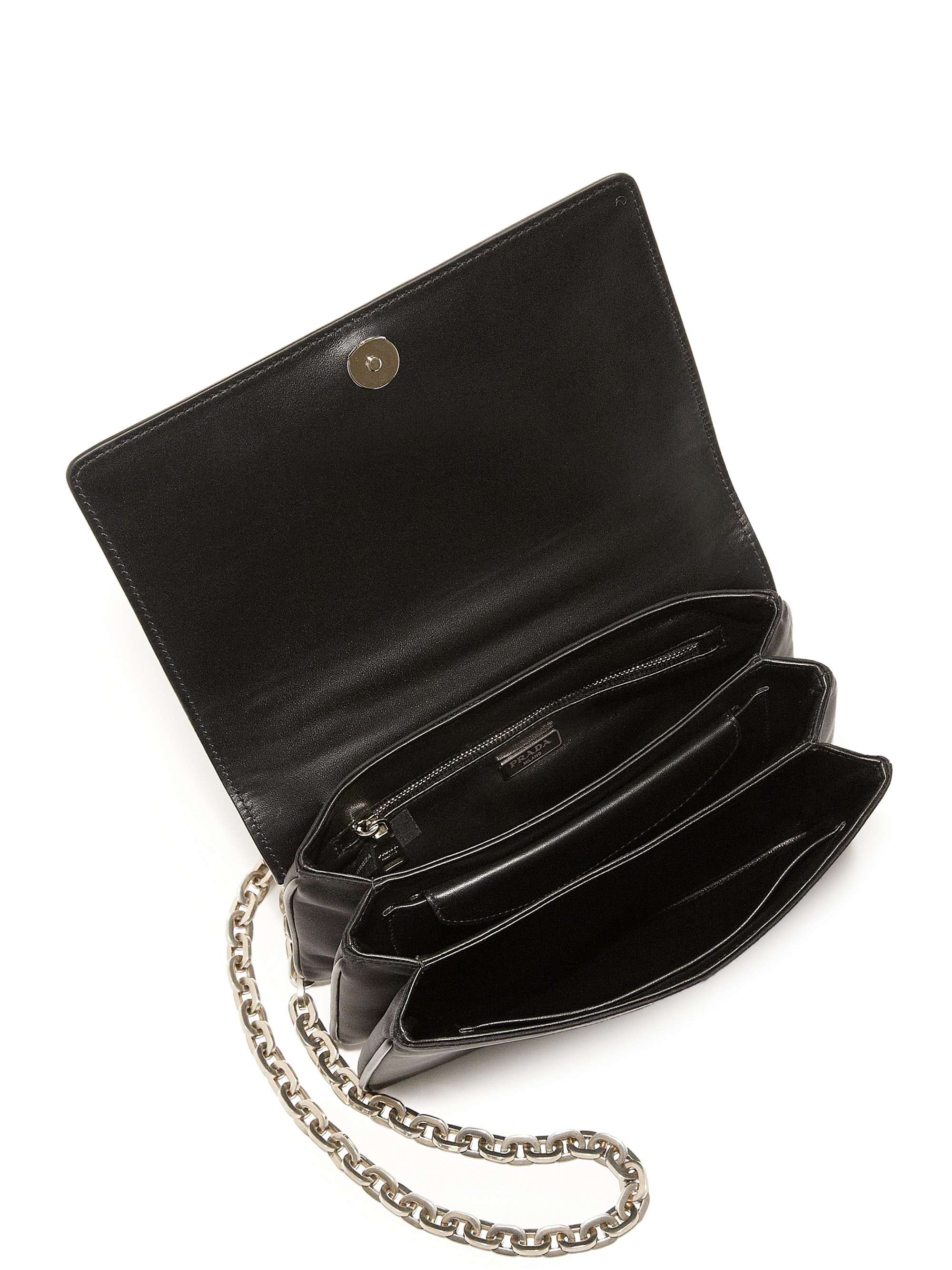 Prada Tessuto \u0026amp; Lizard Crossbody Bag in Silver (black-natural) | Lyst