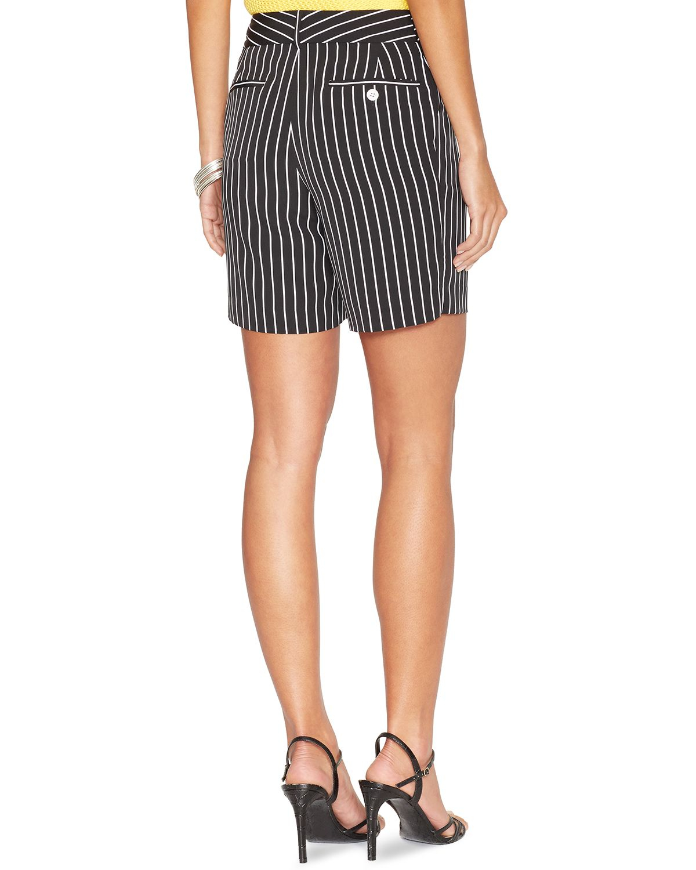 Ralph Lauren Lauren Pinstripe Shorts In Black Blackwhite -5764