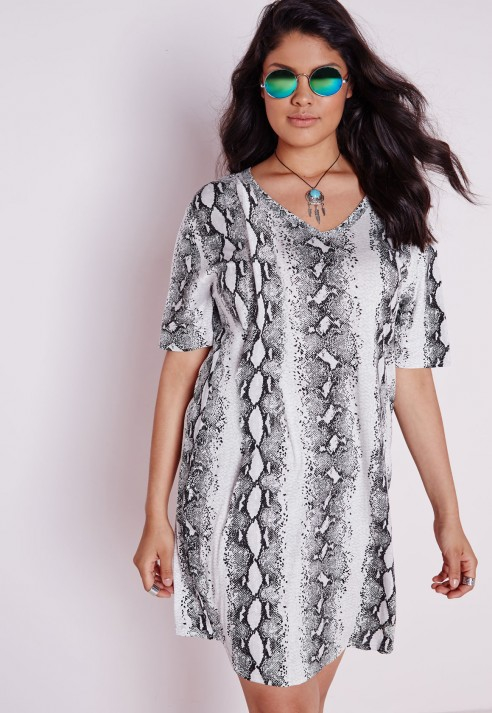 Missguided Plus Size Snake Print Dress Grey - Lyst